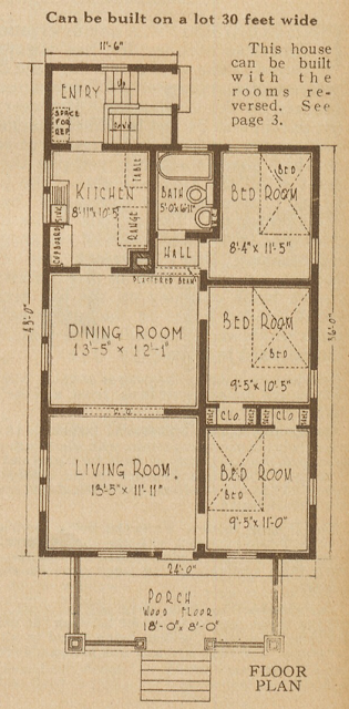 Sears Hampton model floor plan in the 1928 Sears Modern Homes catalog