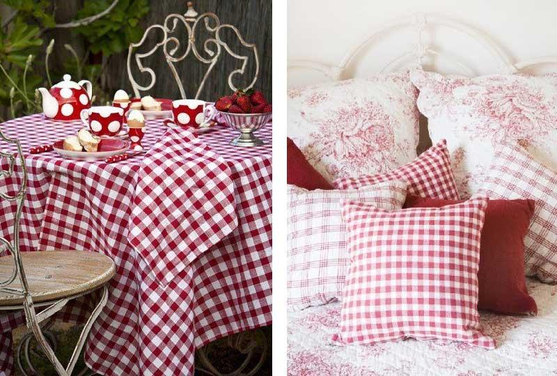 tessili casa quadretti Vichy rosso