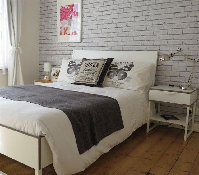 Grey Brick Wall Mural Wallpaper Bedroom