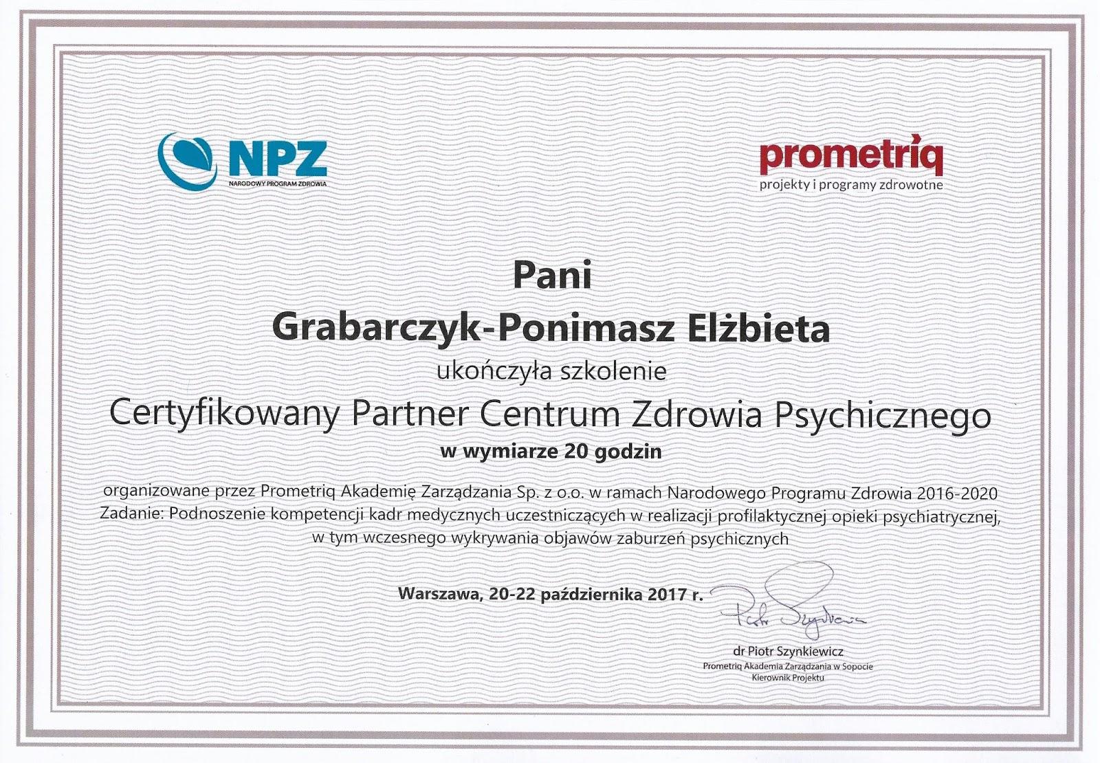 Certyfikowany Partner Centrum Zdrowia Psychicznego - dobry psycholog