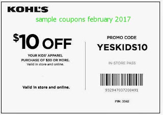 free Kohls coupons for february 2017