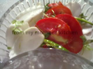 white raddish, tomatoes,  onion ,green chili salad