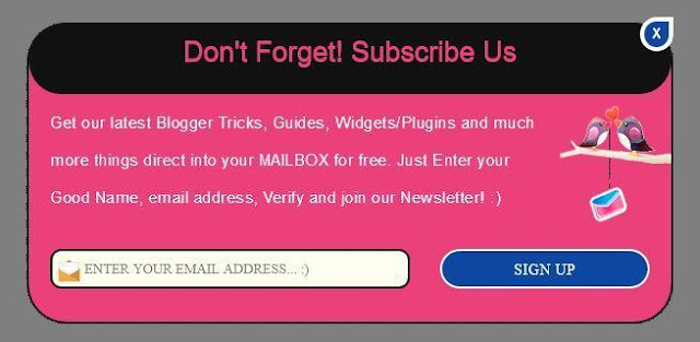Popup subscribe box, Blogger Widgets, Blogger Plugins, Blogger Gadgets, Blogspot Widgets and Gadgets