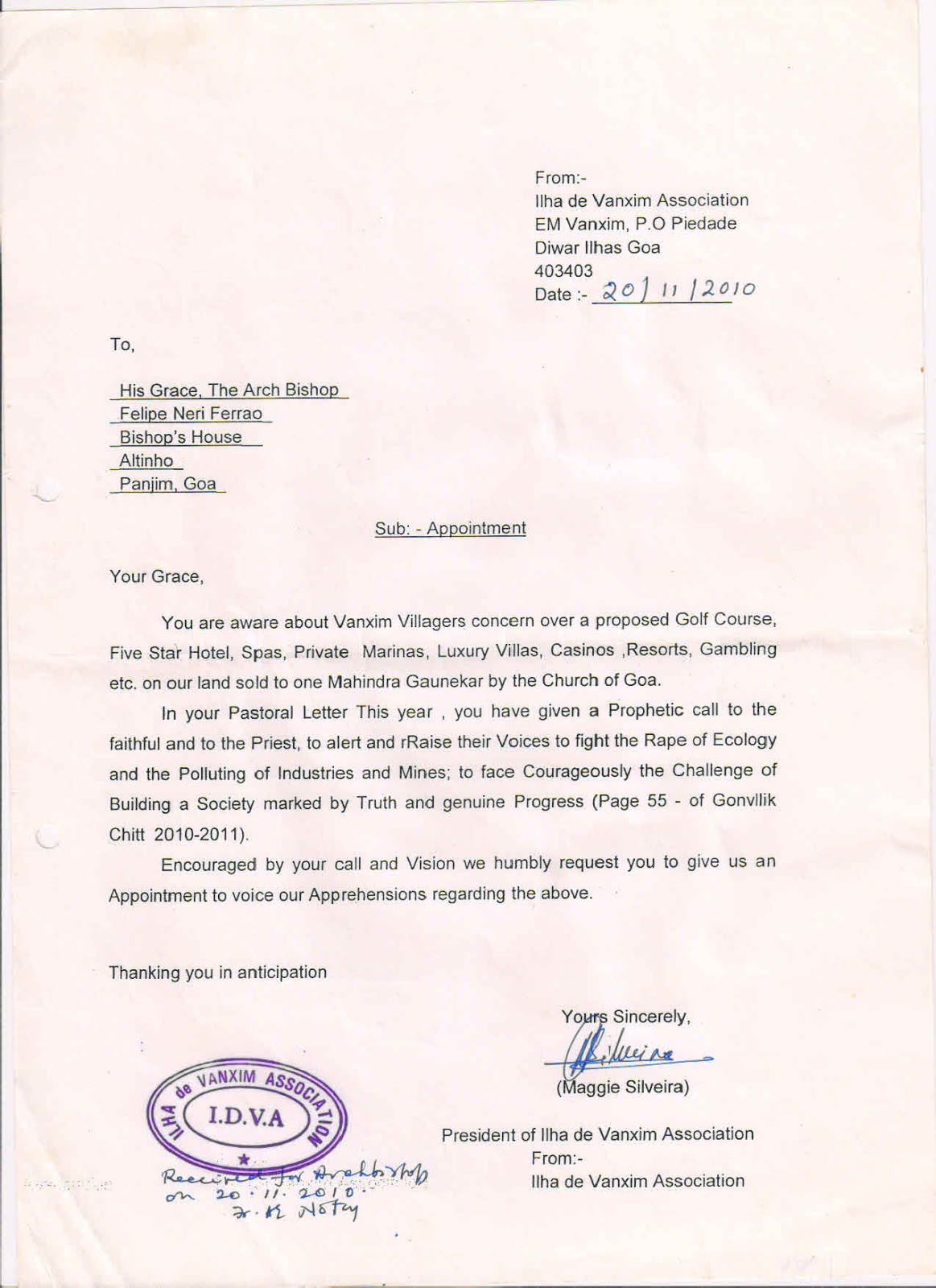 bharat mukti morcha 2010 letter seeking appointment goa 2010 letter seeking appointment goa archbishop