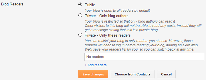 Blogger blog public accessibility setting