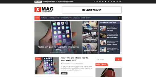 x-mag blogger template 2018