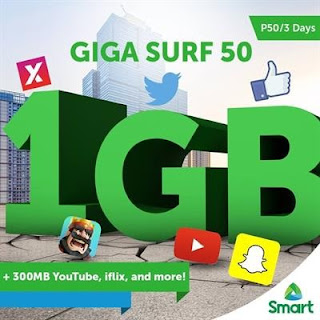 GIGASURF50 : 1GB Data with 300MB for Selected Apps + Unli All-Net Texts For 3 Days