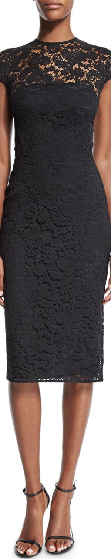 Victoria Beckham Jewel-Neck Cap-Sleeve Lace Dress, Black