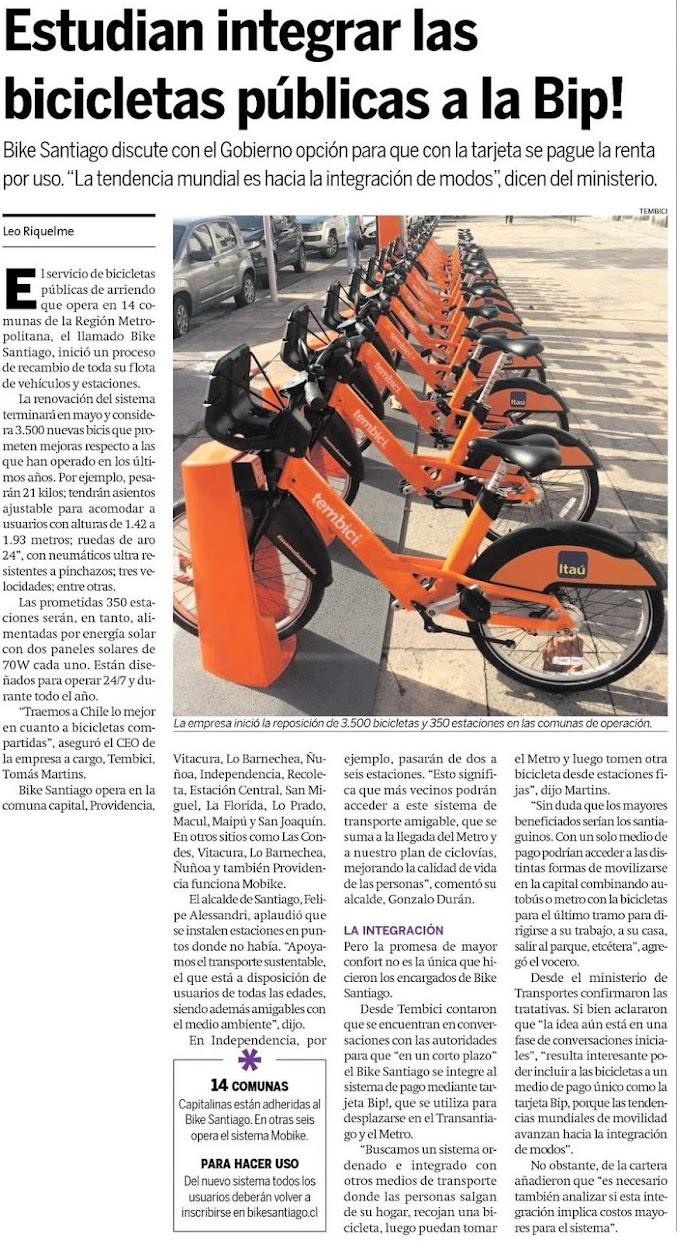 Estudian integrar las bicicletas públicas a la Bip!