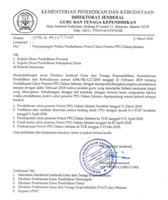 Surat Edara Perpanjangan Waktu Pendaftaran Pretest Calon Peserta PPG Dalam Jabatan