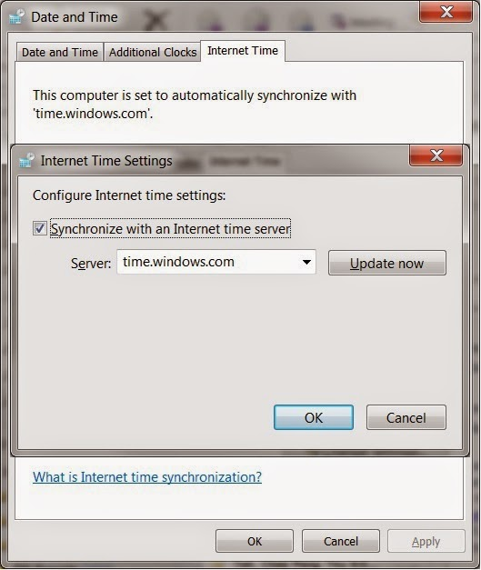 The Windows Date and Time dialog includes an option to set the clock automatically from an Internet Time service.