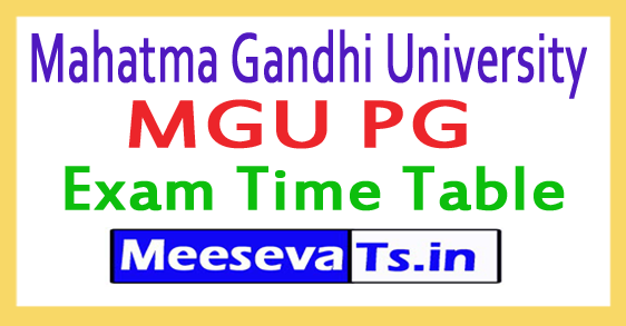 Mahatma Gandhi University MGU PG Exam Time Table