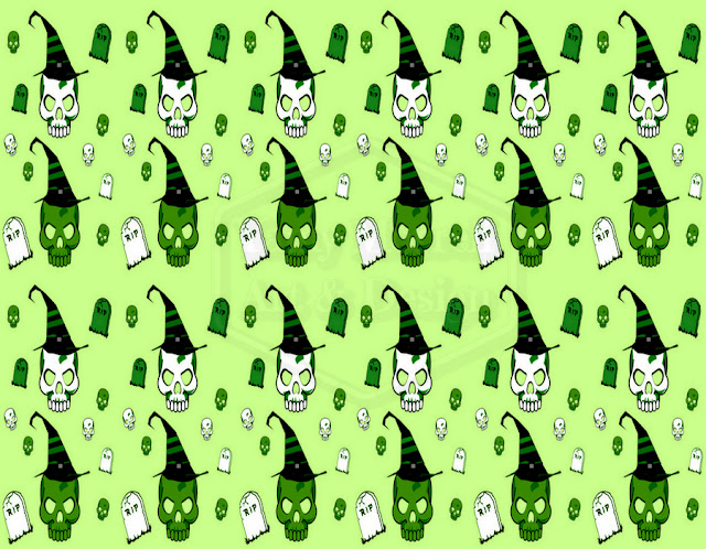 Halloween-green-skull-pattern-design-by-yamy-morrell