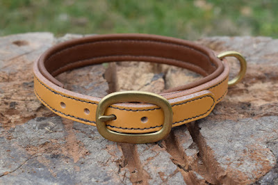 Dog padded collar for beagle made in light brown leather with solid brass oval buckle