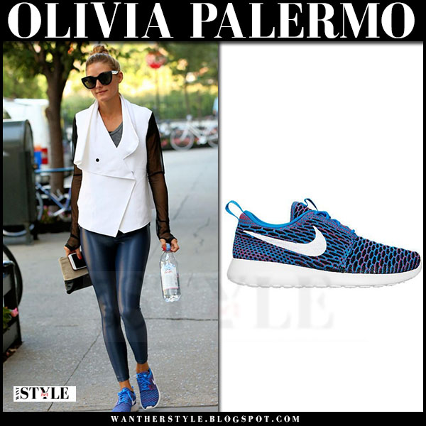 Olivia Palermo in white sleeveless jacket and blue sneakers nike roshe one flyknit what she wore