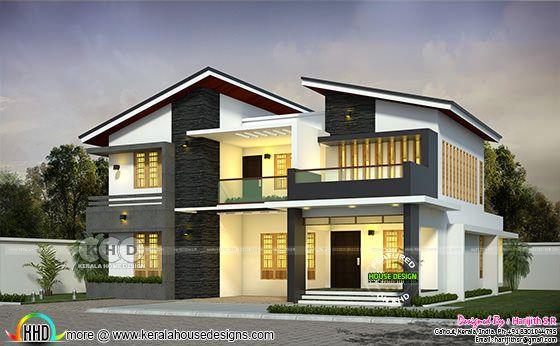 3 bedroom 2981 square feet slanting roof house plan
