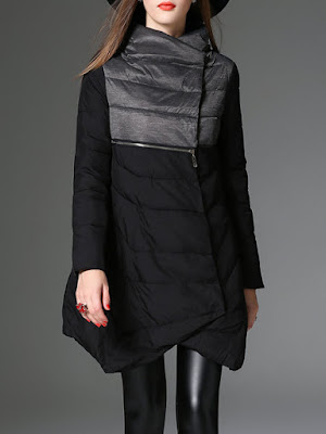 VEINFUNS Black Asymmetrical Long Sleeve Zipper Coat