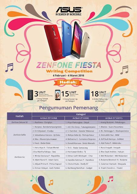 Pengumuman Pemenang Writing Competition Asus ZenFone Fiesta 2016