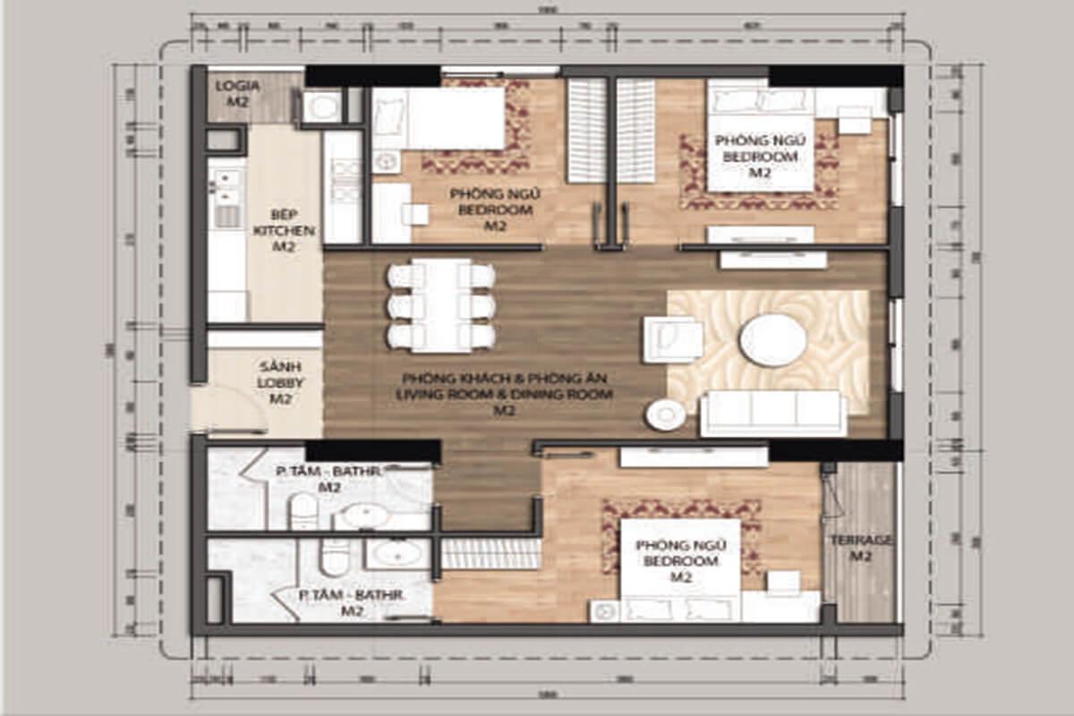 Mặt bằng căn hộ C1-3 phòng ngủ – 103.8m2