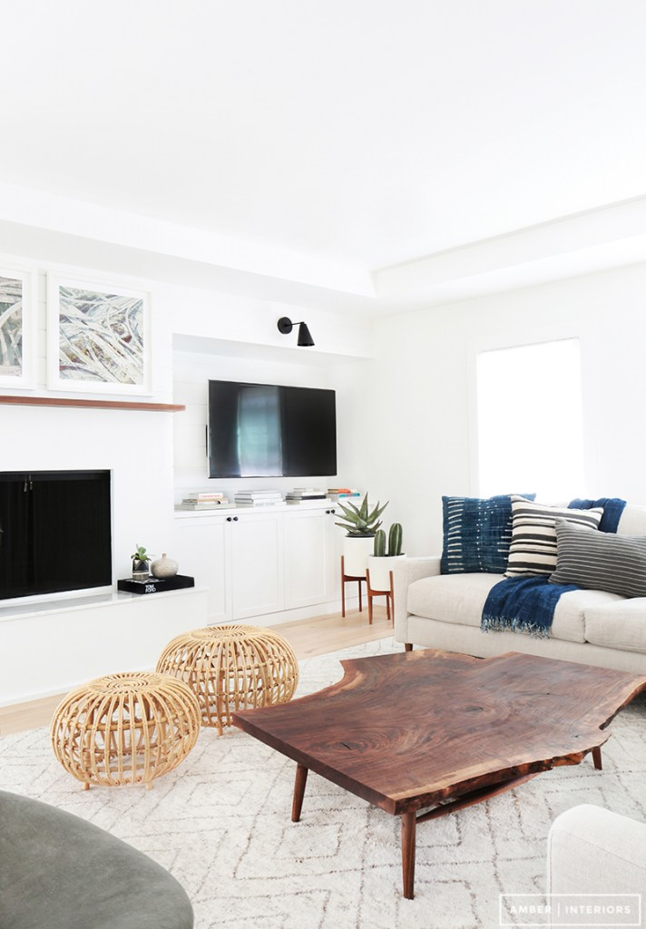 Amber Interior Living Room // Love the Live Edge Coffee Table