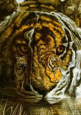 hidden optical illusions animals spot illusion tiger faces many painting tigers visual rust