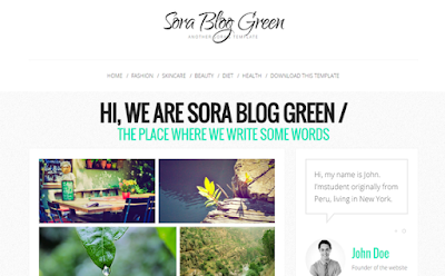 Sora Blog Green responsive blogger template
