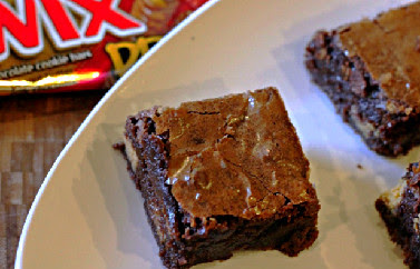 brownies with peanut butter twix mixed in