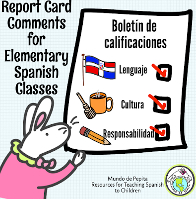 report card comments for elementary Spanish