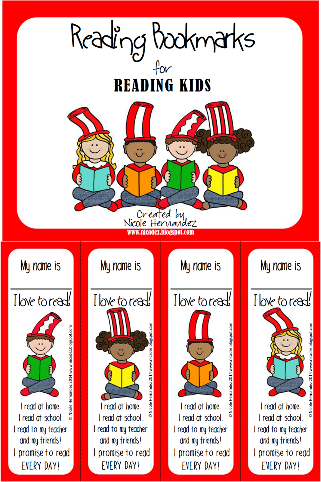 http://www.teacherspayteachers.com/Product/Reading-Bookmarks-for-Reading-Kids-Six-options-to-choose-from-1134402