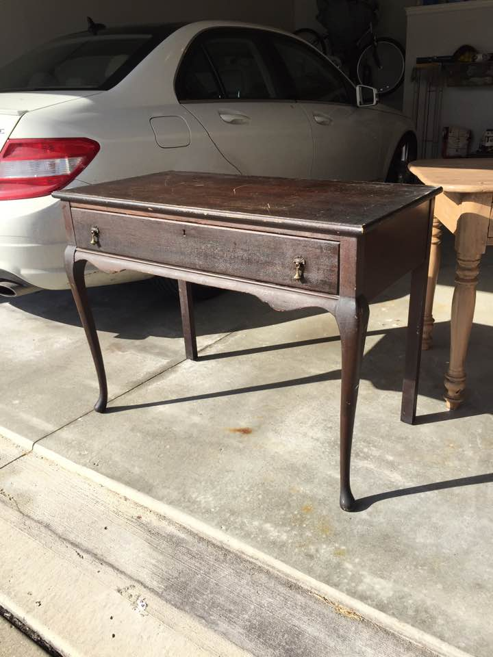 Before: Alms & Doepke vintage writing desk.
