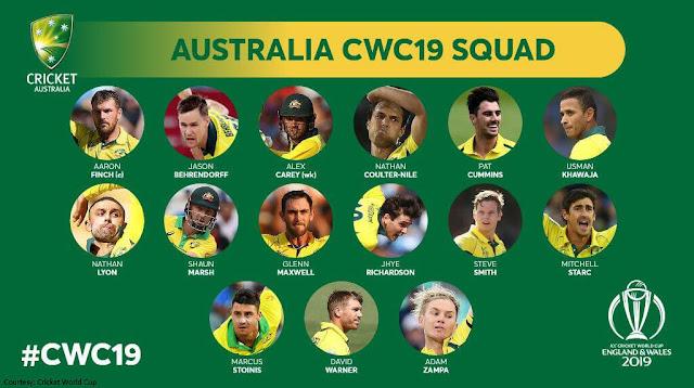 Australia CWC 2019 Squad