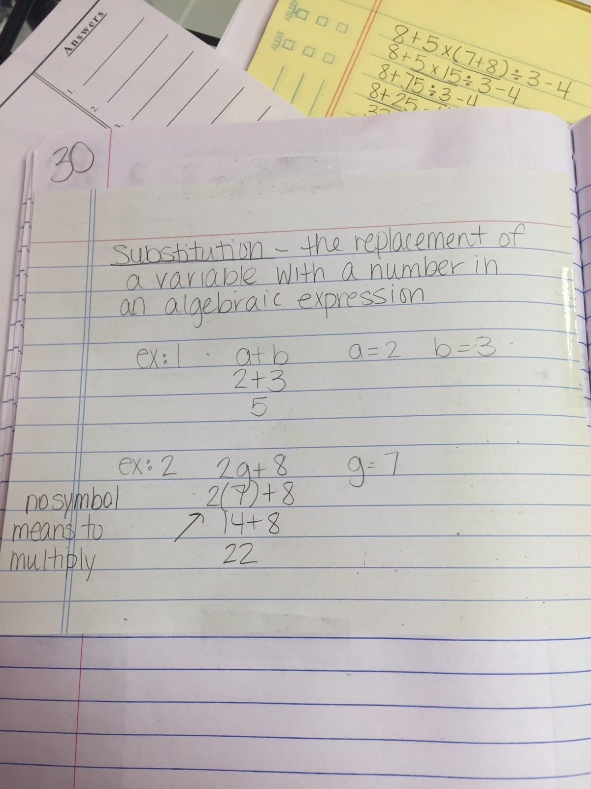 Mrs  White's 6th Grade Math Blog: VARIABLES - SUBSTITUTION NOTES