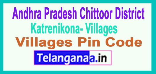 East Godavari District Katrenikona Mandal and Villages Pin Codes in Andhra Pradesh State