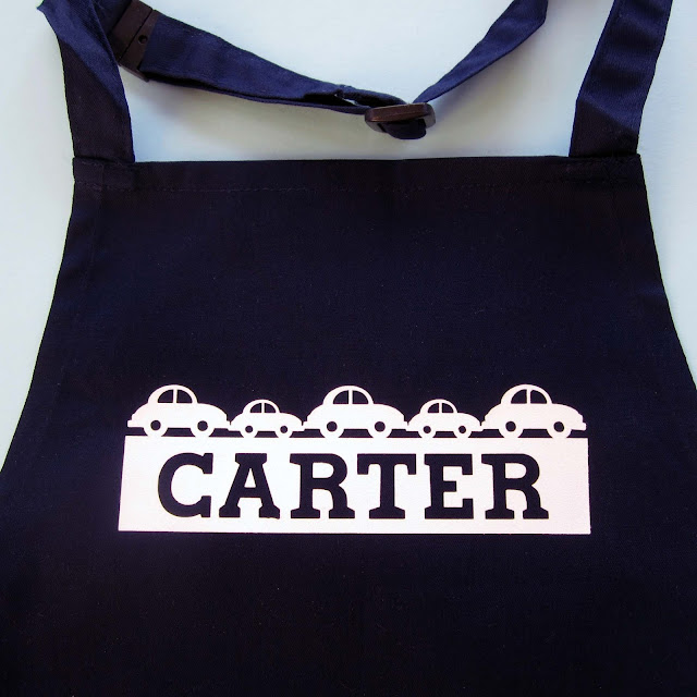 Personalize a cut design by Janet Packer (CraftingQuine.blogspot.co.uk).  Make a personalised child's apron.