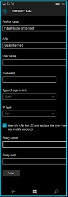 New InterNode apn settings windows phone