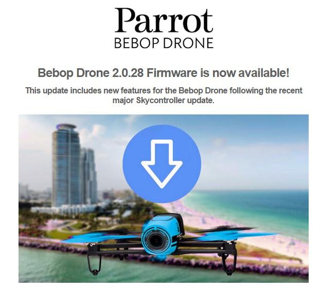 infos technos informatique vid os hifi photos mise a jour du fimware bebop drone 2. Black Bedroom Furniture Sets. Home Design Ideas