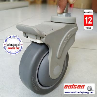 Bánh xe cao su xoay khóa Colson ty ren phi 100mm | STO-4854-448BRK4 www.banhxepu.net