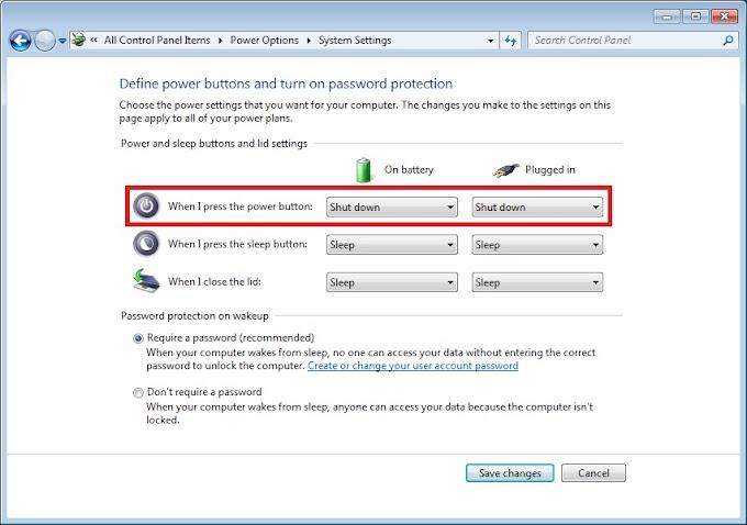 Thay đổi chức năng nút Power trên máy chạy Windows 7