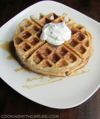 dessert waffles with apple caramel and whipped cream