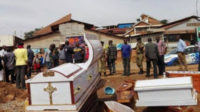 Police stranded as angry traders dump 37 coffins at a Synagogue church in Uganda