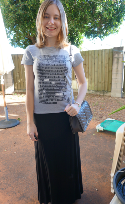 Threadless graphic tee, black maxi skirt grey bag with a monochrome outfit