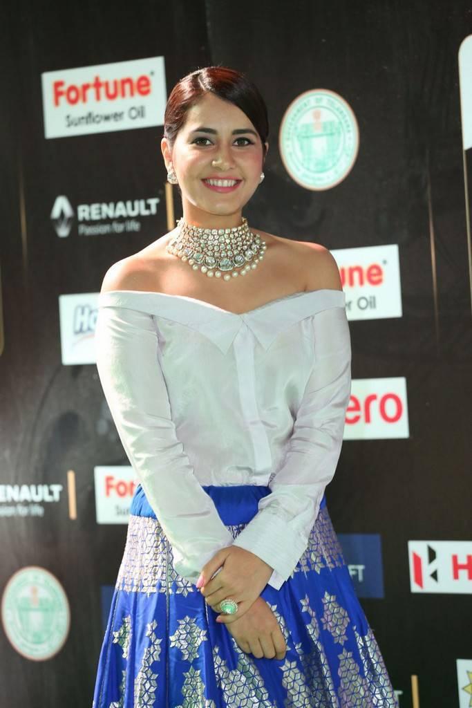 Telugu Actress Raashi Khanna At IIFA Awards 2017 In Blue Dress