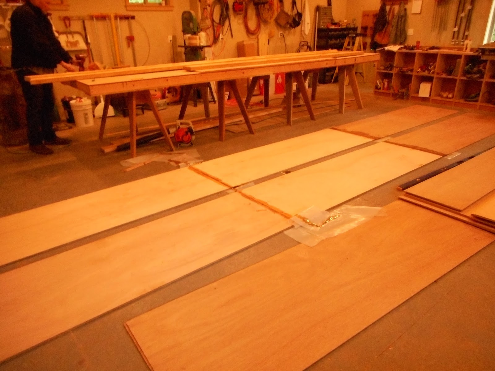 Chris 39 s boat project scarfing plywood for Wood floor joint guard