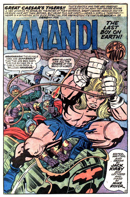 Kamandi v1 #4 dc bronze age comic book page art by Jack Kirby, Mike Royer