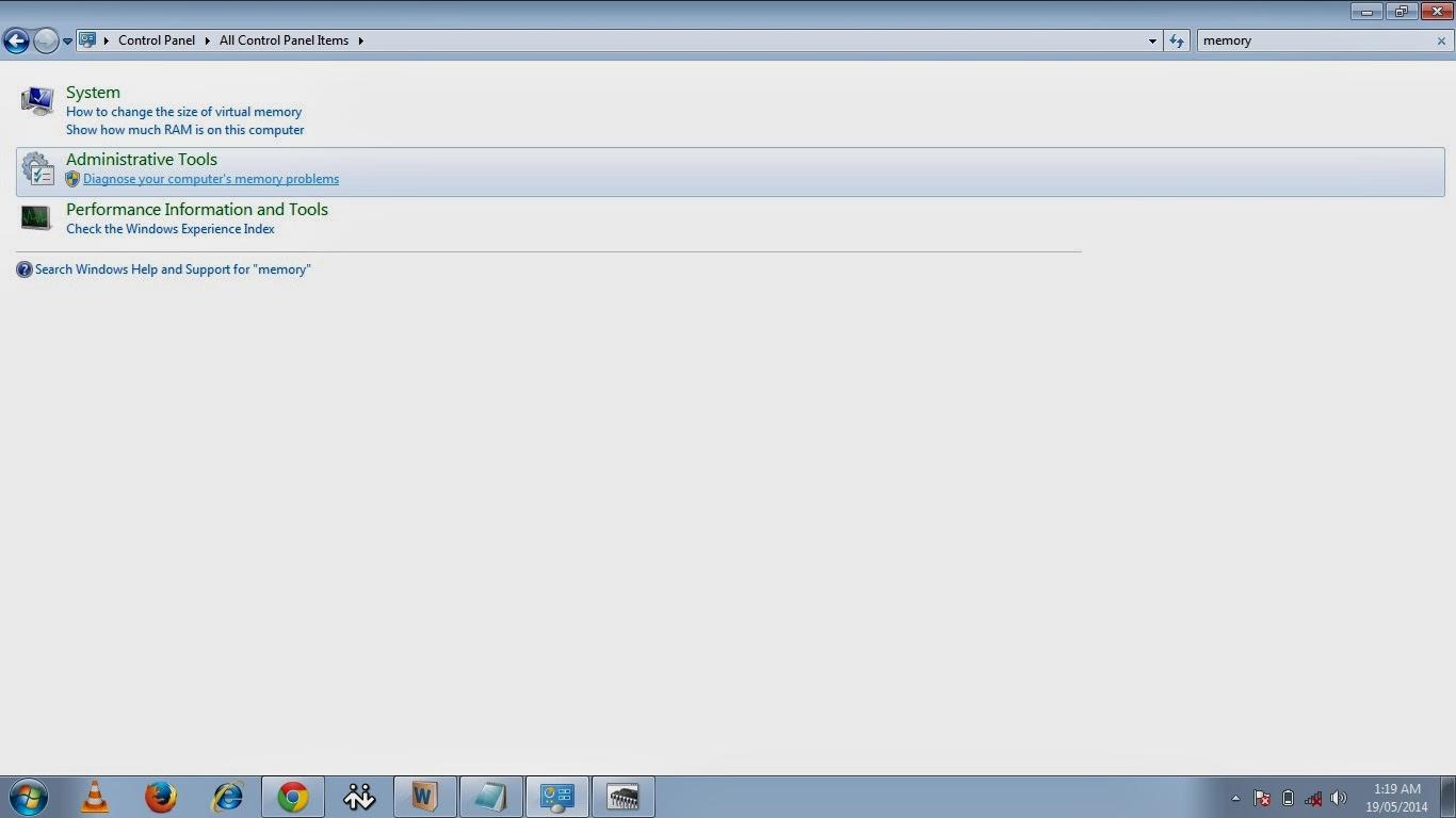 Administrative tool for Memory Diagnostic