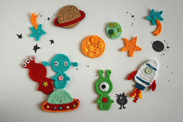 Outer space TomToy Crochet applique, Kids clothing decoration, Crochet patch, Crochet space - Aliens, Planets, Stars, Rocket, Flying saucer,