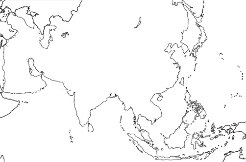 Blank Physical Map Of Monsoon Asia
