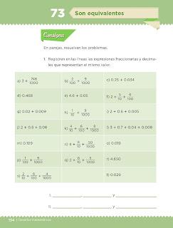 Apoyo Primaria Desafíos Matemáticos 4to. Grado Bloque IV Lección 73 Son equivalentes