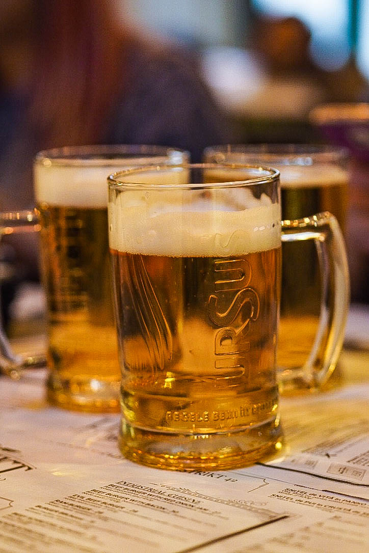 Pints of beer in Distrikt, Bucharest