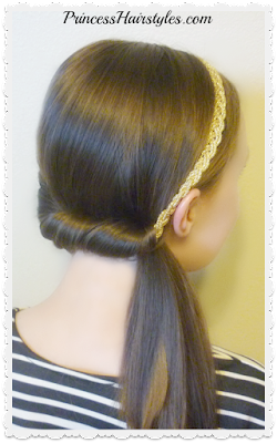 Cute and easy side ponytail using headband.